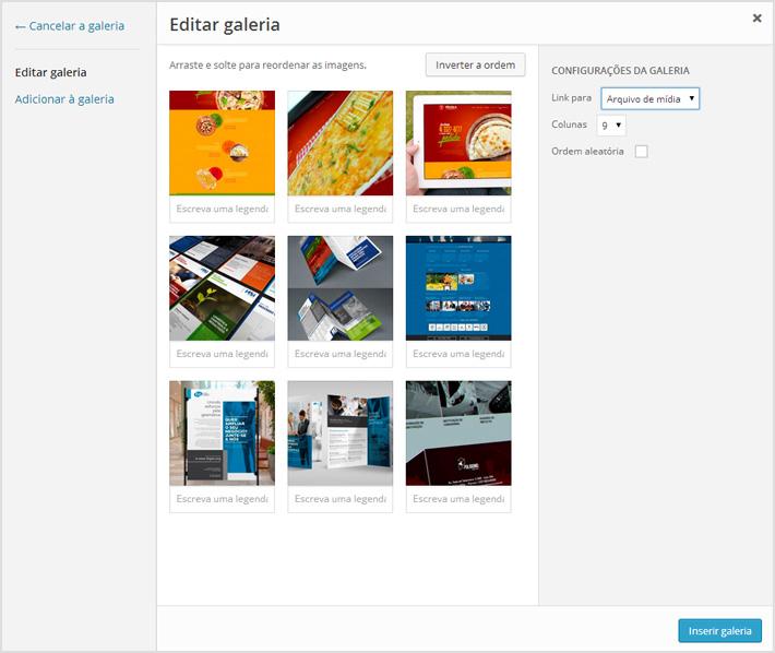 Editando galeria de imagens no WordPress