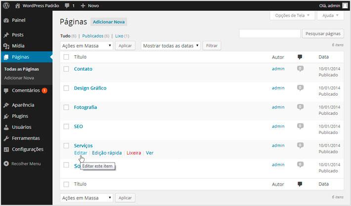 Editar páginas no WordPress
